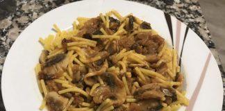 receta espaguetis con champiñones y cebolla