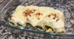 receta canelones espinacas, atún y huevo