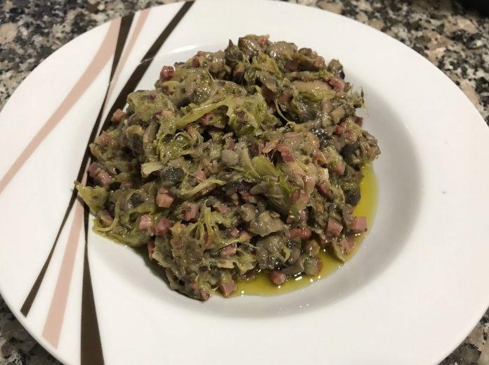 receta revuelto champiñones, ajos tiernos y jamón