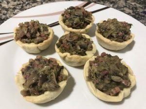 receta tartaletas de champiñones, ajos tiernos y jamón