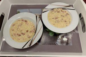 Receta de risotto carbonara con Thermomix
