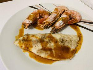 Receta de lubina en salsa salmorreta y gamón con Thermomix