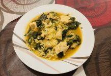 Receta de arroz, pollo, champiñones y espinacas