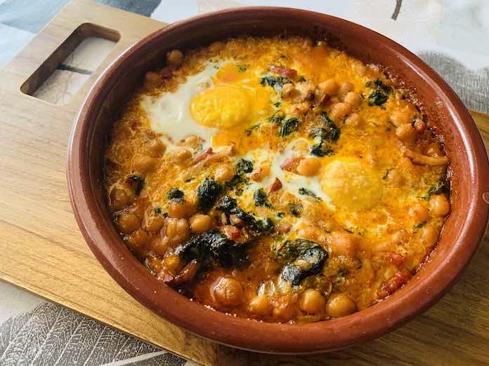 Garbanzos con espinacas y huevo con Thermomix
