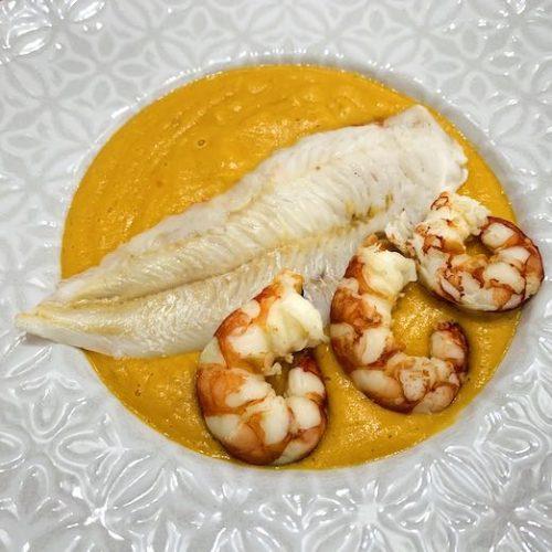 crema de merluza y gambón en Las Recetas de Angy